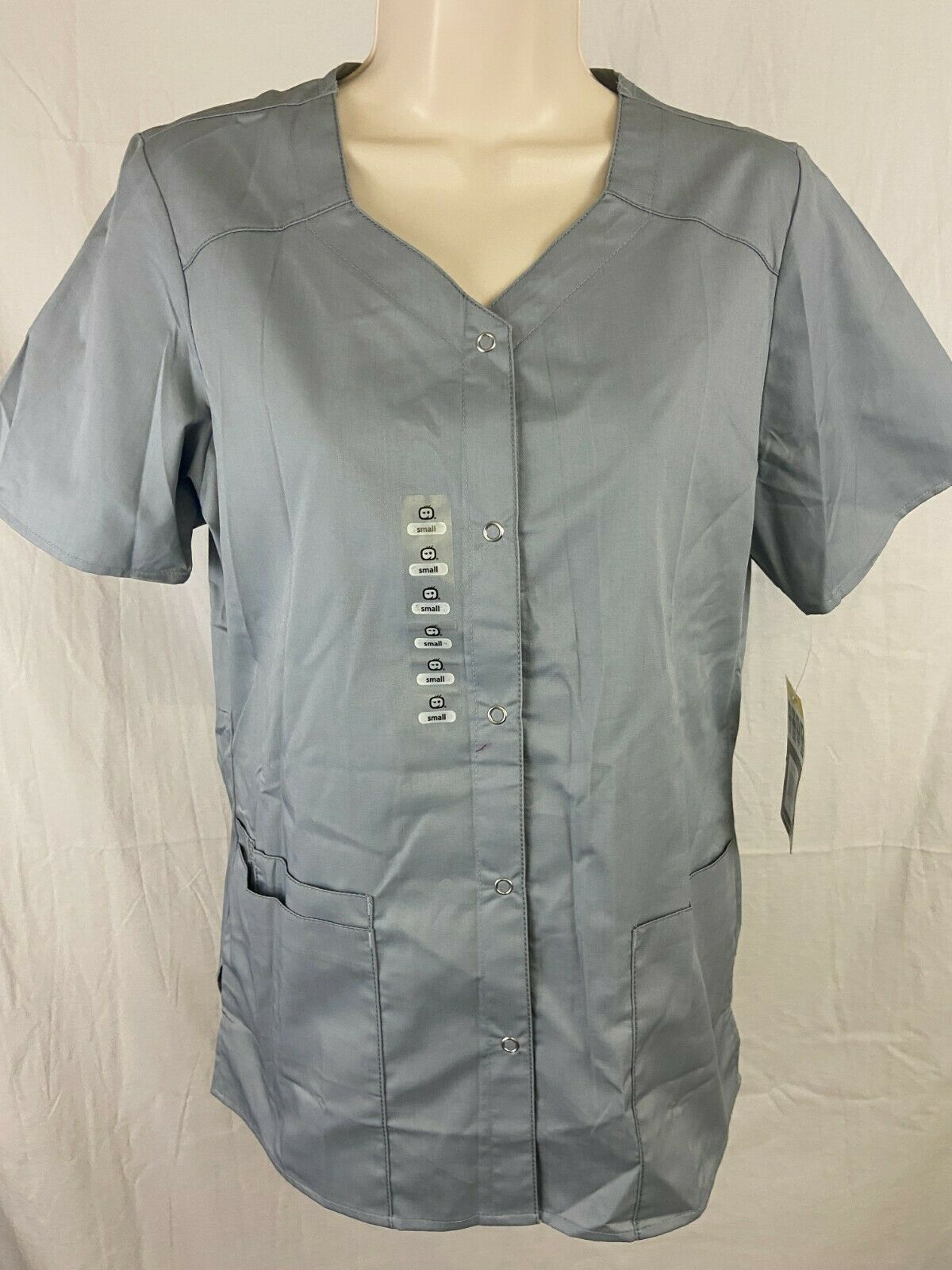 Wonder Wink Scrubs Womens Size Small Short Sleeve Gray New With Tags Full Button - £9.35 GBP
