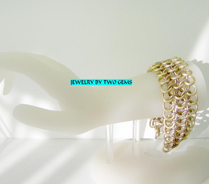 Jewelry By Two Gems (B4) Aluminum Gold/Choc European Chainmaille Bracelet