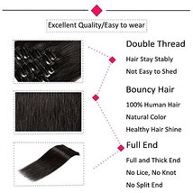"""24"""" Remy Clip in on Hair Extensions Remy Human Hair Standard Weft 80g 8 Pcs 18 C image 2"""