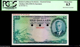 "BRITISH CARIBBEAN TERRITORIES P3s $5 ""MAP NOTE"" 1964 PCGS 63! EXTREMELY ... - $1,950.00"