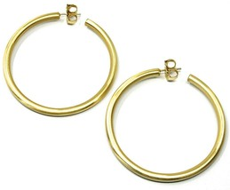 925 STERLING SILVER CIRCLE HOOPS BIG EARRINGS, 6 cm x 4 mm, YELLOW, SATIN FINISH image 2