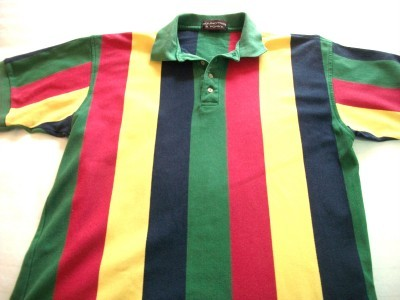 Primary image for MEN ROUNDTREE & YORK MULTI COLOR POLO SHIRT M MED
