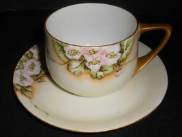 Rosenthal Cup and Saucer Donatello Wild Rose 1922 Green Mark Antique    ... - $9.50
