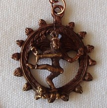 Shiva Natraja Lord of the Dance Copper 3D New Amulet Pendant Necklace OM... - $24.99