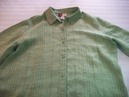 Women Jennifer Moore Lime Green Linen Career Shirt 16 - $7.99