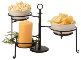 WROUGHT IRON SWIVEL CADDY Adjustable 3 Tier Table Rack Condiment Display... - $59.37