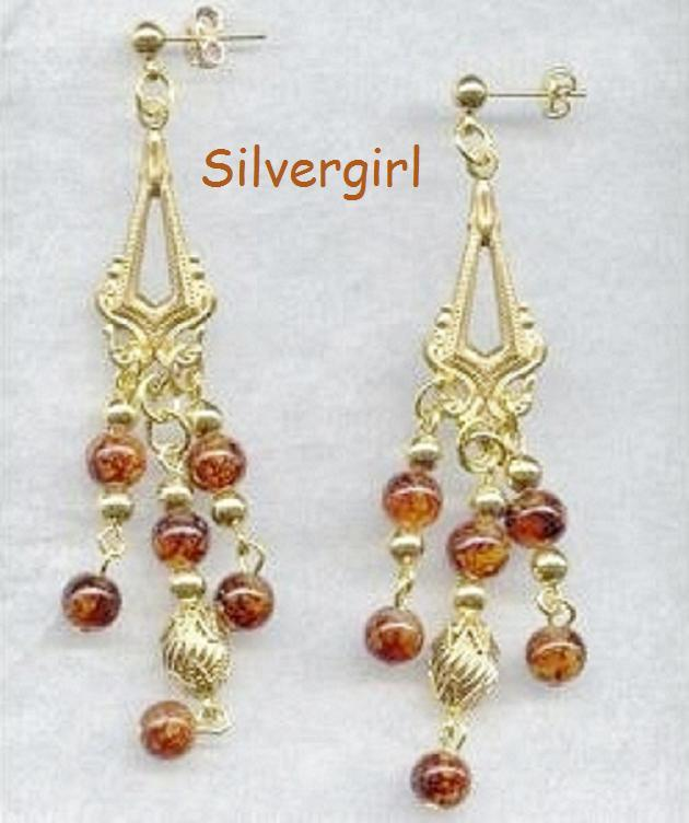 Gold Plated With Dichroic Look Beads Chandelier Earrings