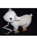 Chosun Lamb Pull Toy Plush Stuffed Animal Wooden Wheels Satin Leash  - $49.99
