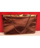 Block True Vintage Shiny Brass Color Leather Clutch/Evening/Bag Gold Har... - $9.69