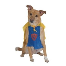 "SUPERHERO HERO CHAMPIONS SUPERMAN DOG HALLOWEEN COSTUME CAPE M 14""-16"" - $2.60"