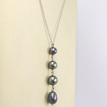 Necklace White Gold 18K,Pendant Pearls Black,round Ovals and Drop,Chain Rolo ' image 2