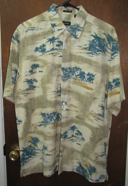 Primary image for Men's Izod Silk Hawaiian Shirt Size Medium Palm Trees