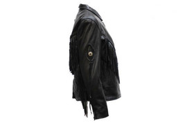Women's Leather Motorcycle Jacket Diamond Shapes Braid & Zippered cuffs - $100.00