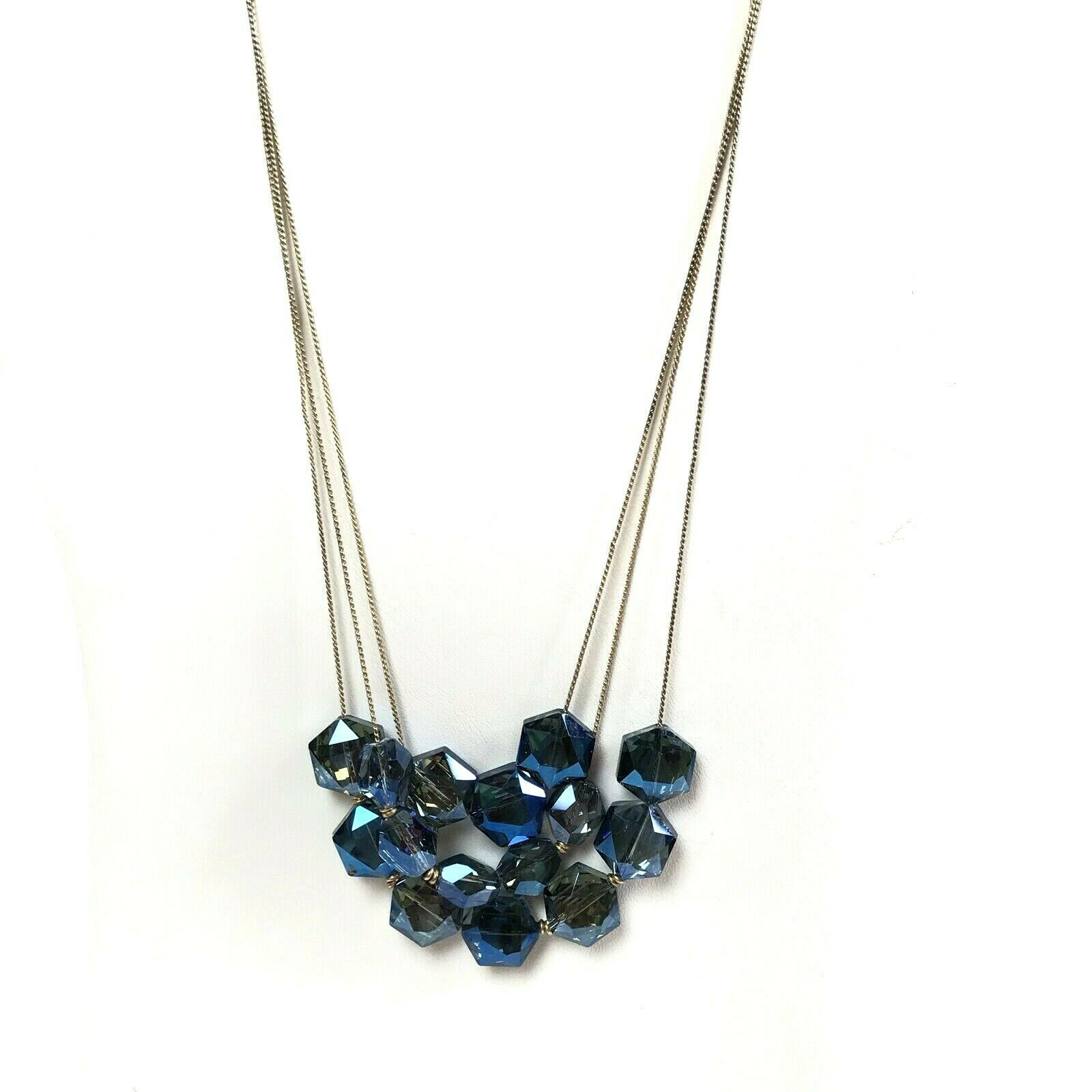 Kenneth Cole Necklace Blue Faceted Glass Strands Statement  - $9.89