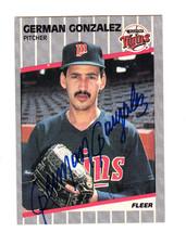 1989 FLEER SIGNED ROOKIE CARD GERMAN GONZALEZ MINNESOTA TWINS VENEZUELA ... - $39.59