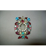 Early Unsigned Hobe Lyre Harp Brooch  Multi Colored Czech Glass & Rhines... - $99.99