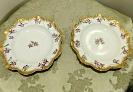 Antique A. L. Limoges France Dessert or Dinner Plates w/ Purple Flowers ... - $34.16