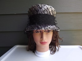 1960's Vintage Designer Womens Grey Shiny Straw Hat with Hatband  - $23.09