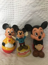 Set of 3 Vintage Walt Disney Mickey Mouse Coin Bank Roly Poly Push Up Puppet EUC - $23.73