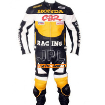 Men's Black Yellow & White Honda Motorcycle Real Leather Biker Padded Suit - $239.99+