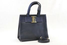 Salvatore Ferragamo Leather 2Way Shoulder Hand Bag Black Auth ar332 - $200.00