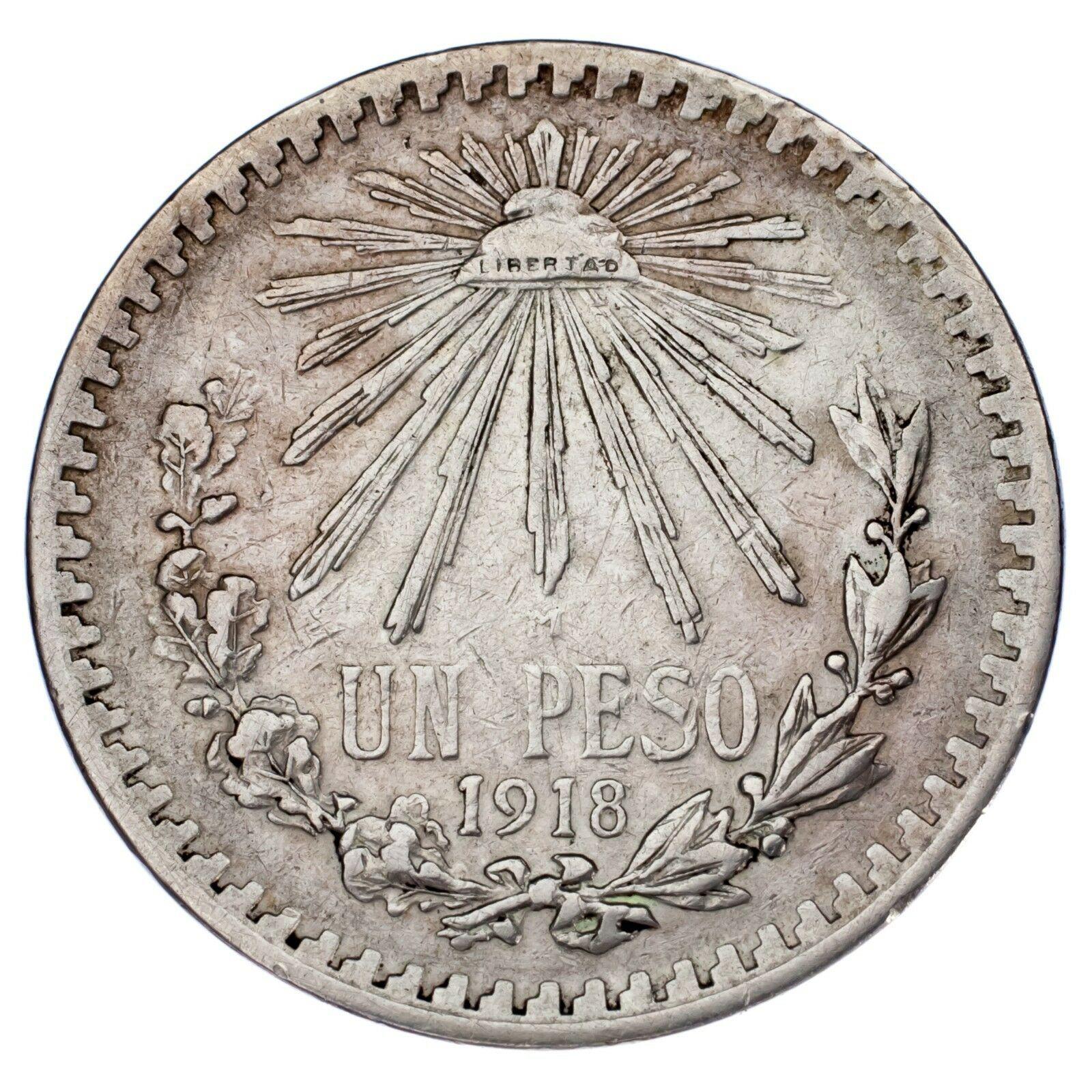 1918/7 Mexico Silber 1 Peso Overstrike VF Zustand