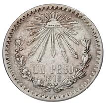 1918/7 Mexico Silber 1 Peso Overstrike VF Zustand image 1