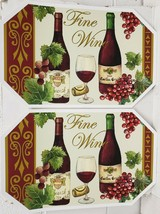 "Set of 2 Vinyl Non Clear Placemats(18""x12"") WINE & GRAPES,FINE WINE,2 BO... - $11.87"