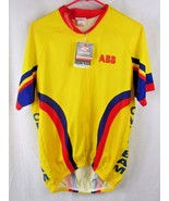 Pace biking cycling jersey top XL yellow red blue NWT flaws - $13.36