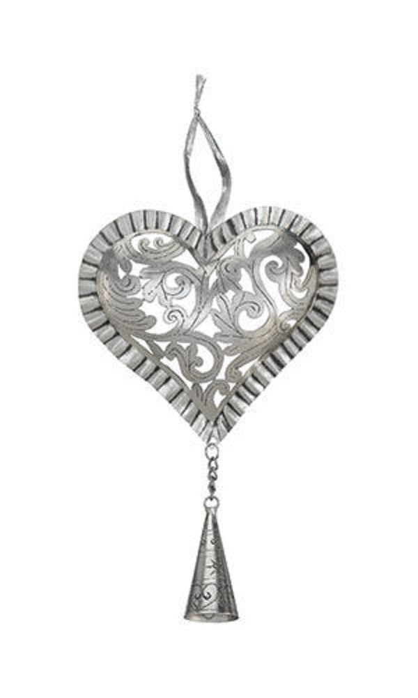 stainless steel handcrafted silvertone heart bell holiday