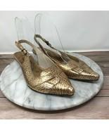 Matisse Womens Size 6.5 Bronze Animal Print Leather Slingback Kitten Heels - $29.95
