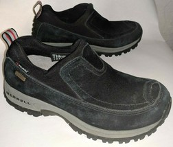 Merrell Womens 6 Winter Shoes Slip On Polar Moc Waterproof Insulated Black Suede - $24.18