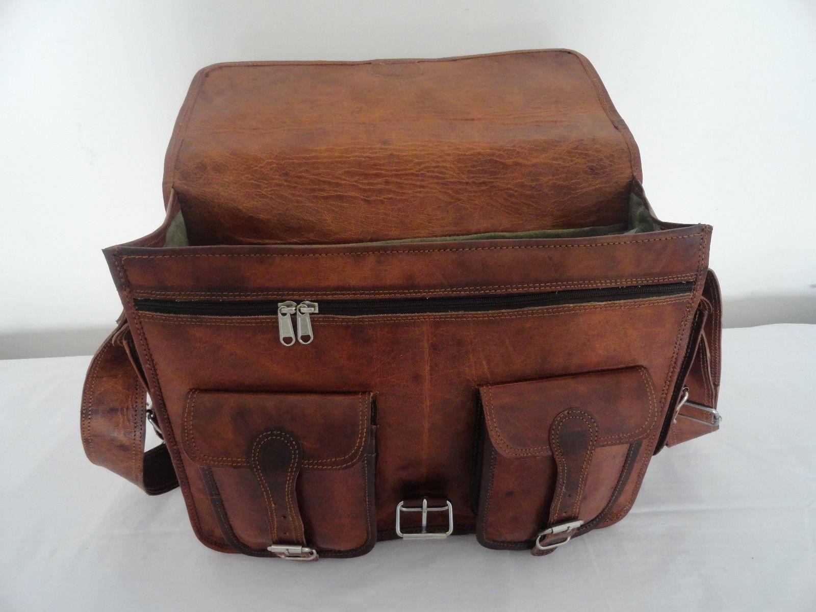 """18"""" Vintage Leather Padded Briefcase Laptop Macbook Satchel Padded Messenger Bag"""