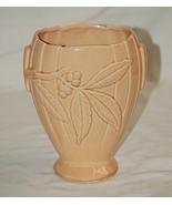 Old Vintage Brush McCoy Art Pottery Vase #662 Ribbed Footed w Floral Design USA - $39.59