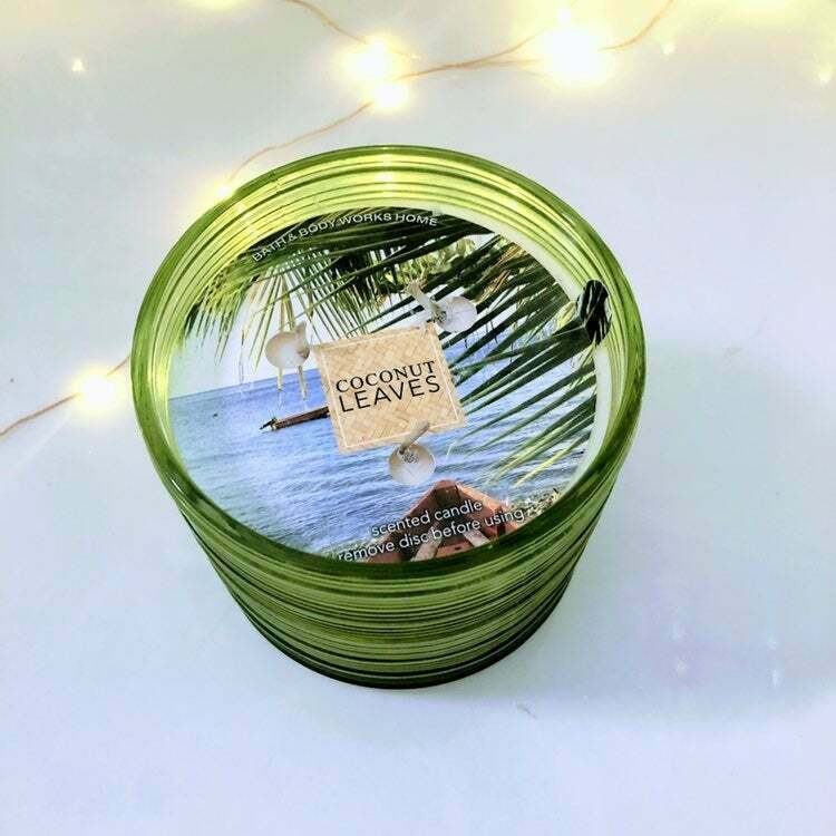** Bath & Body Works** Coconut Leaves 3-Wick Candle | Tropical | Vacation | Fun