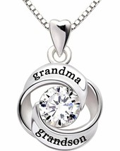 """GRANDMA GRANDSON"" Heart Necklace Embellished with Swarovski Crystals in... - $20.57"