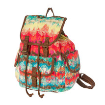 Colorful Island Print Backpack with Faux Leather Trim School Book Bag - NWT - $45.53