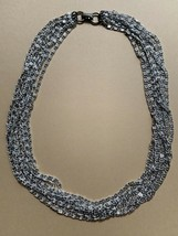 Sarah Coventry Scroll Snail Chain Multi Strand Collar Necklace Silver To... - $24.70