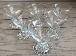 6 Vtg Anchor Hocking Boopie Champagne Sherbet Glasses w Candlewick Beade... - $33.85