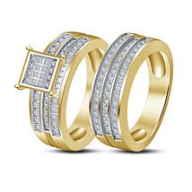 14k Yellow Gold Finish Round Cut Sim Diamond Bridal Engagement Wedding Ring Set - $98.47