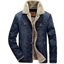 2018 Winter Warm Denim Jacket Men Fur Collar Parkas Coats Brand Jeans Ja... - $84.74