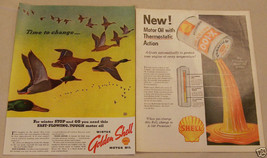 Vintage 2 Page Magazine Ad Shell Motor Oil Golden Thermostatic 1937 October - $5.93
