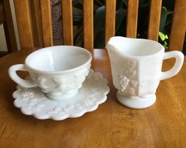WESTMORELAND PANELED GRAPE LARGE CREAMER AND CUP WITH SAUCER - $19.80