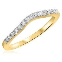 1/8 Ct Real Diamond 10K Yellow Gold Ladies Curved Wedding Anniversary Band - €212,72 EUR