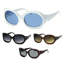 Womens Foliage Bling Foil Engraving Thick Plastic Oval Sunglasses - $12.95