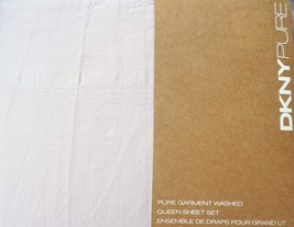 DKNY Pure Garment Washed Light Gray Cotton Sheet Set Queen - $79.00