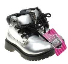 Beverly Hills Princess Size 6 Girls or Boys Silver Combat Boots NWT - $362,62 MXN