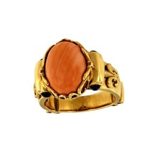 18k Rose Gold Ring With Pink Cabochon Coral Ring - $950.00