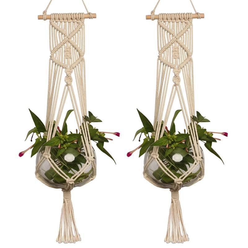Garden Plant Hanger Macrame Hanging Planter Basket Rope Flower Pot Holder De WO