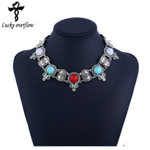 High Necklace Women Statement Vintage Resins Synthetic Stone Necklaces P... - $157,57 MXN